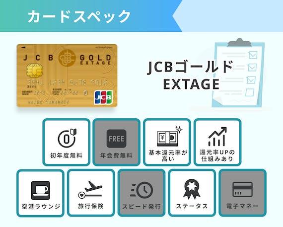 JCBゴールドEXTAGEカードスペック画像